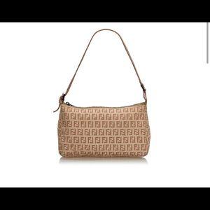 Fendi Brown Beige Canvas Handbag